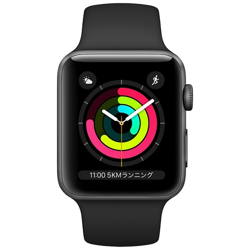 APPLE 【S3GPS】AW38MM SGアルミ/BKスポーツ MTF02J/A