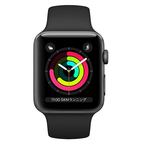 APPLE 【S3GPS】AW42MM SGアルミ/BKスポーツ MTF32J/A