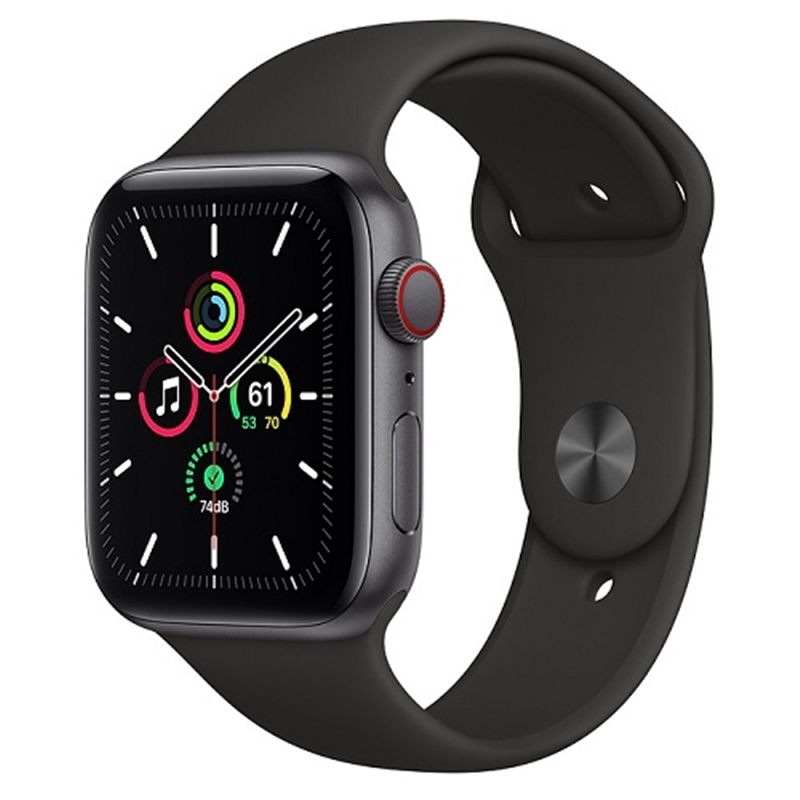 APPLE 【SEGPS/CEL】AW44MM SGアルミ/BKスポーツ MYF02J/A(APPLE WATCH SE 44 SG AL BLK SP CEL)