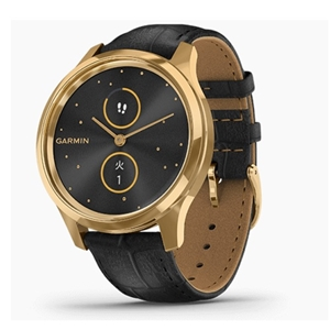 GARMIN vivomove Luxe Black Embossed Leather / 24K Gold PVD 010-02241-72